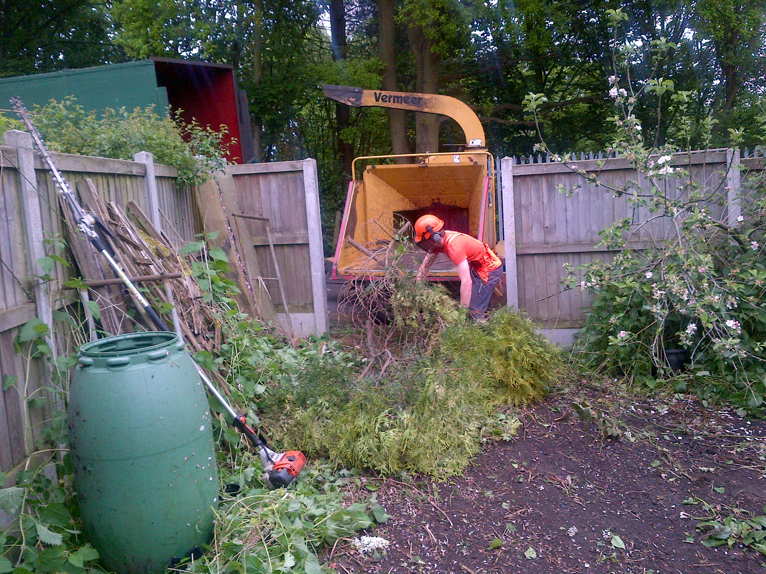 man clearing foliage with chipper in Essex